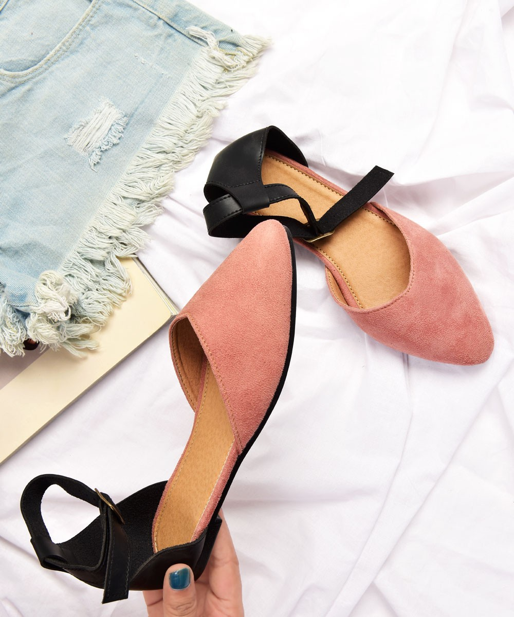 Tequila sunrise ankle strap flats