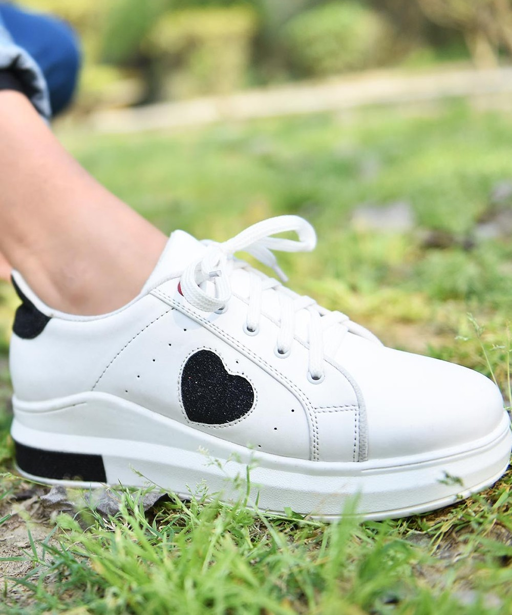 Cool Girl White Sneakers Black Heart