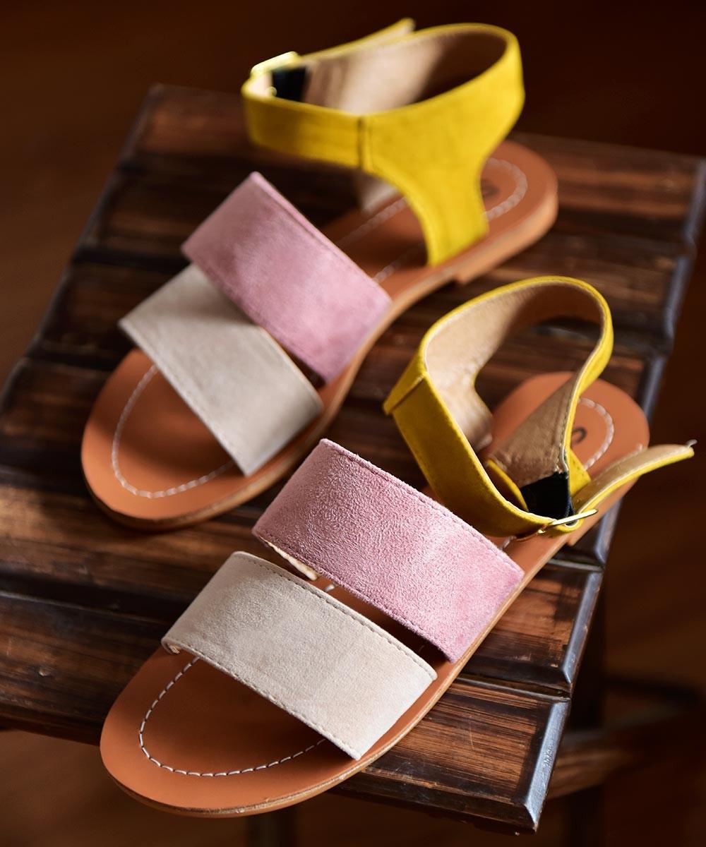 Multicolor straps flats