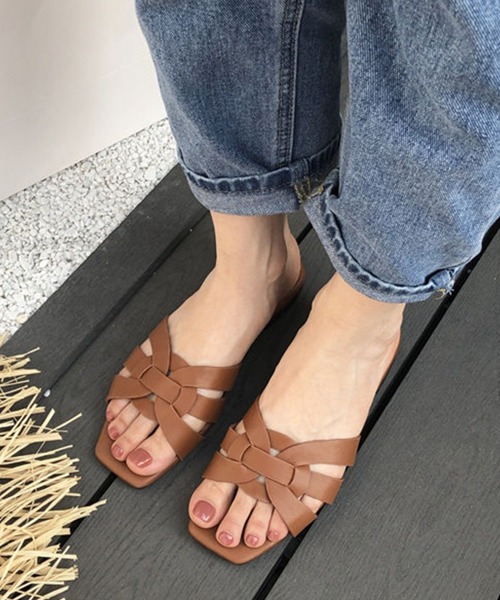 Stay cool tan flats Brown