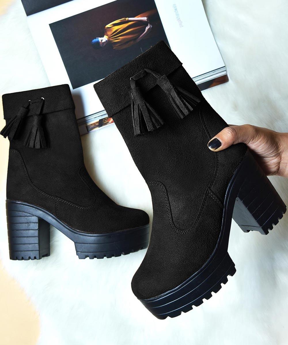 Cool chic platform boot black