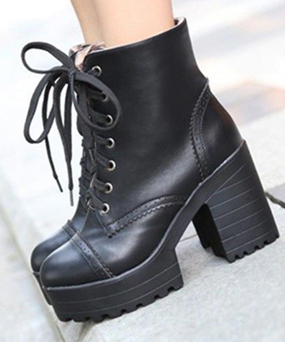 Platform Block Heel Ankle Boots Black