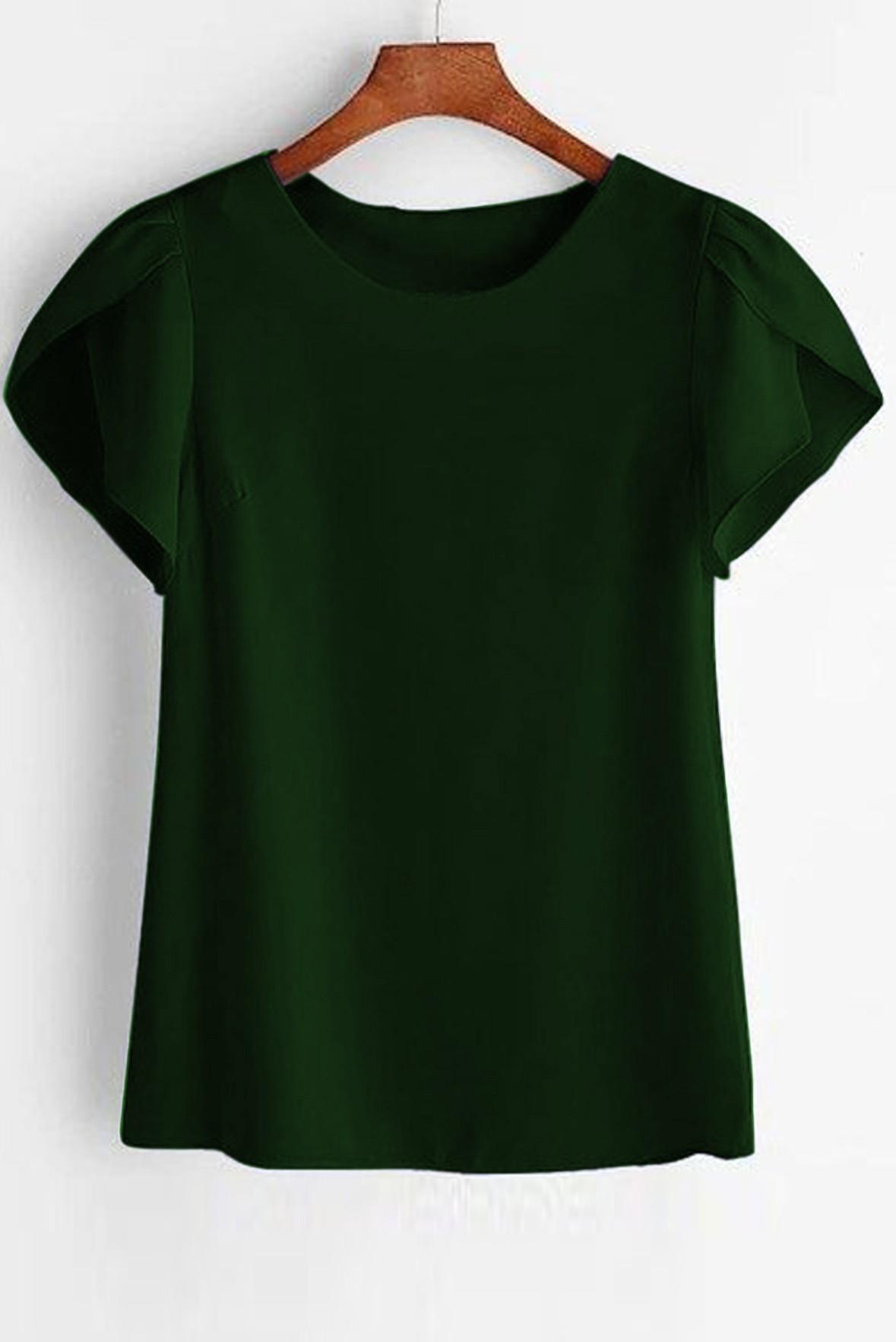 Petal Sleeve Solid Green Top