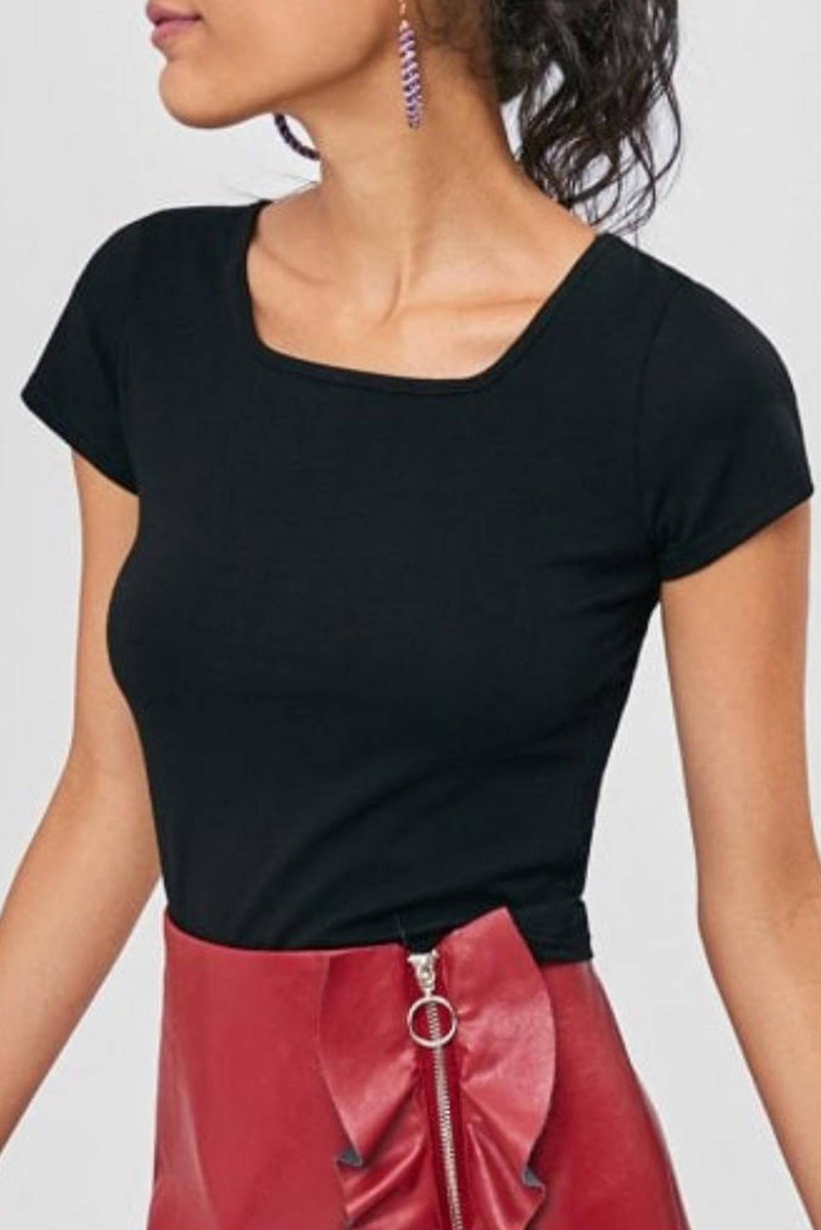 Solid Color Crop Tee black