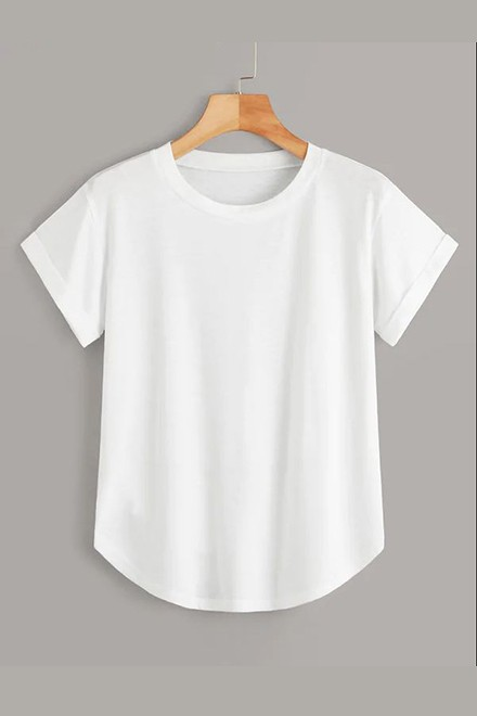 Rolled Cuff Curved Hem Tee White