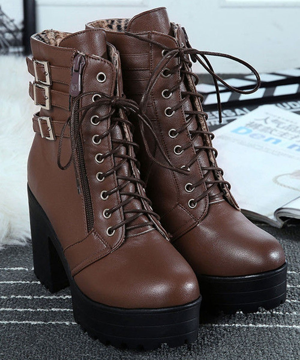 Chunky Heel Buckled Lace Up Short Boots