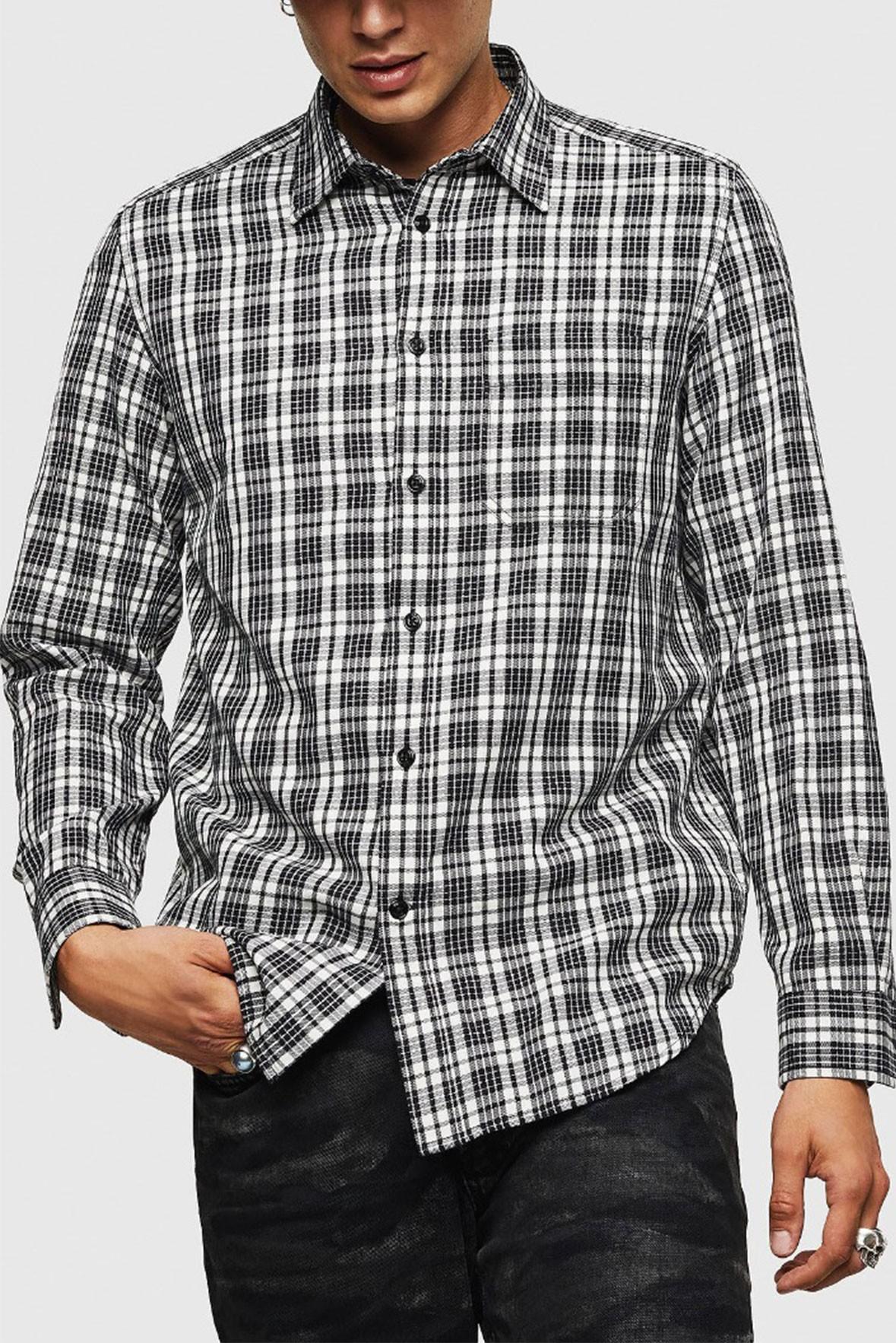 Men's Basic Full Sleeves Black and White Check Shirt S196