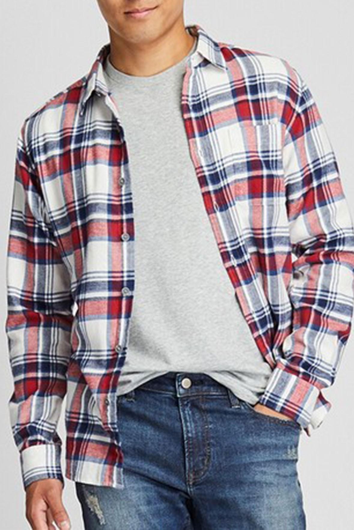 Men's Basic Full Sleeves Blue and Red Check Shirt S197
