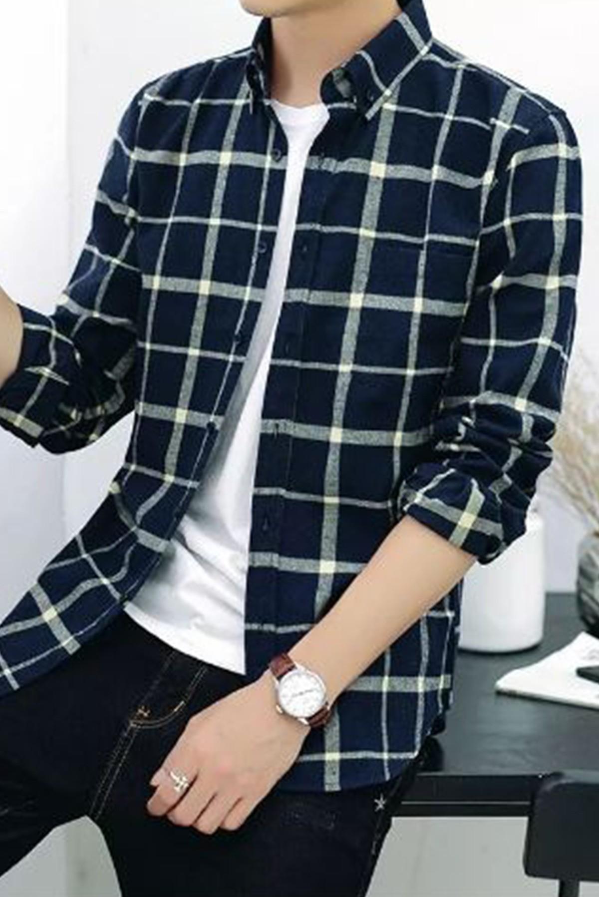 Men's Basic Full Sleeves Plaid Shirt S311