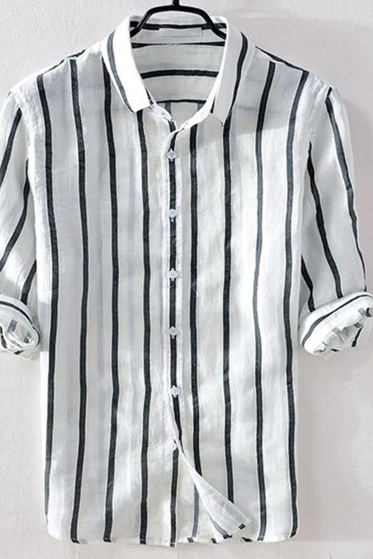 Men's Basic Full Sleeves Striped Shirt S325