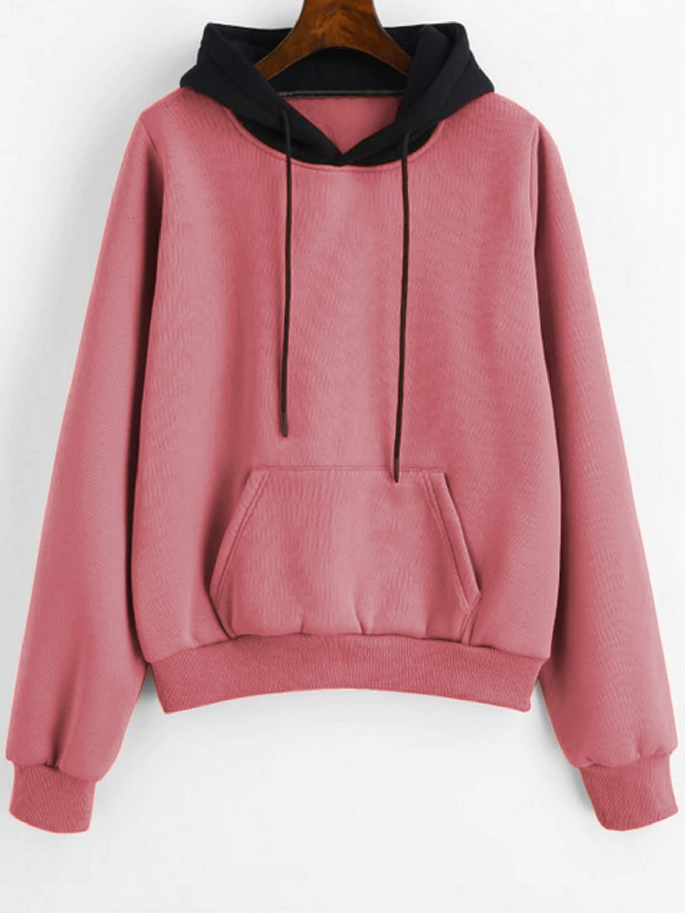 Pouch Pocket Fleece Pullover Hoodie Pink