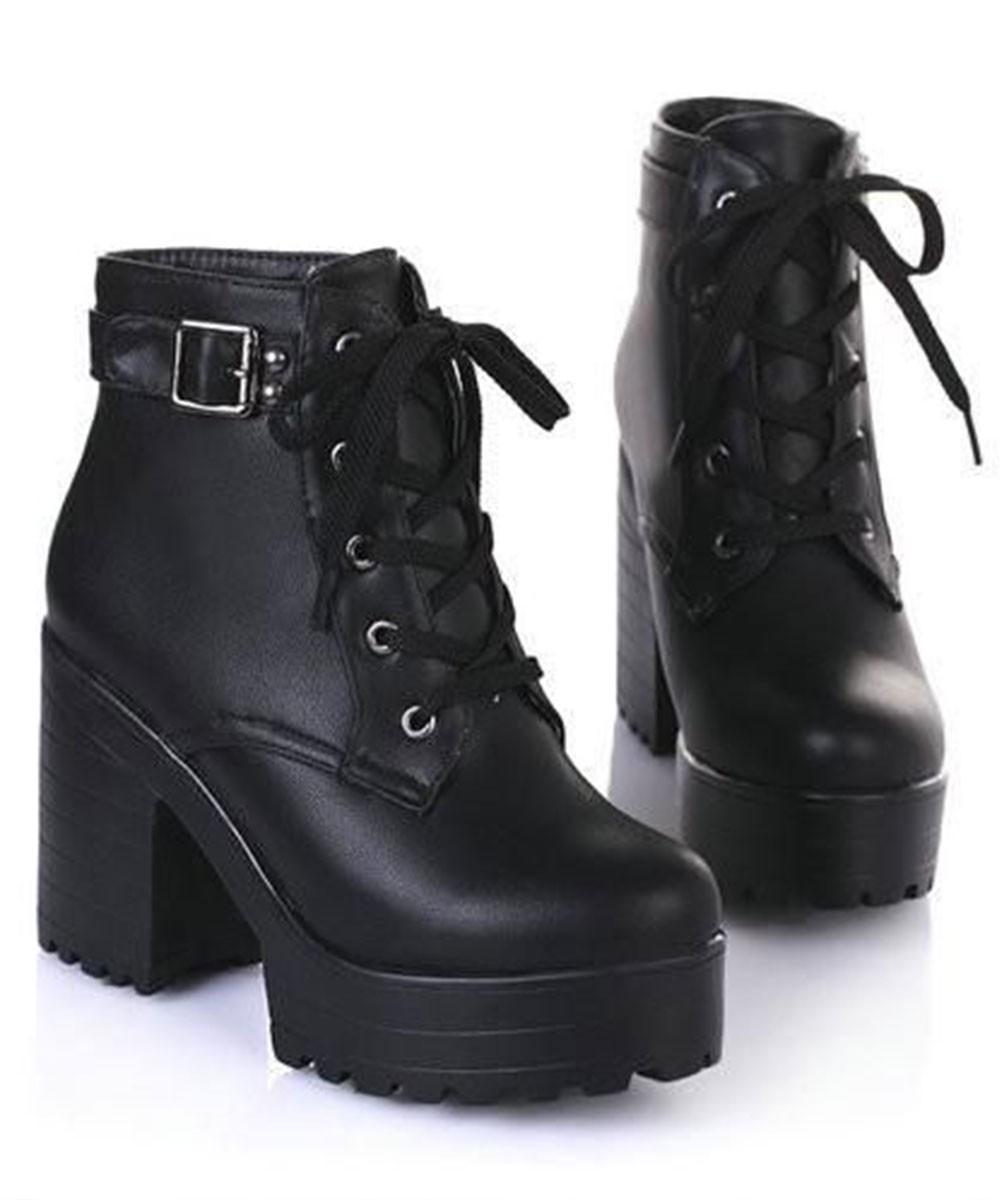 Black platform chic and stylish boots