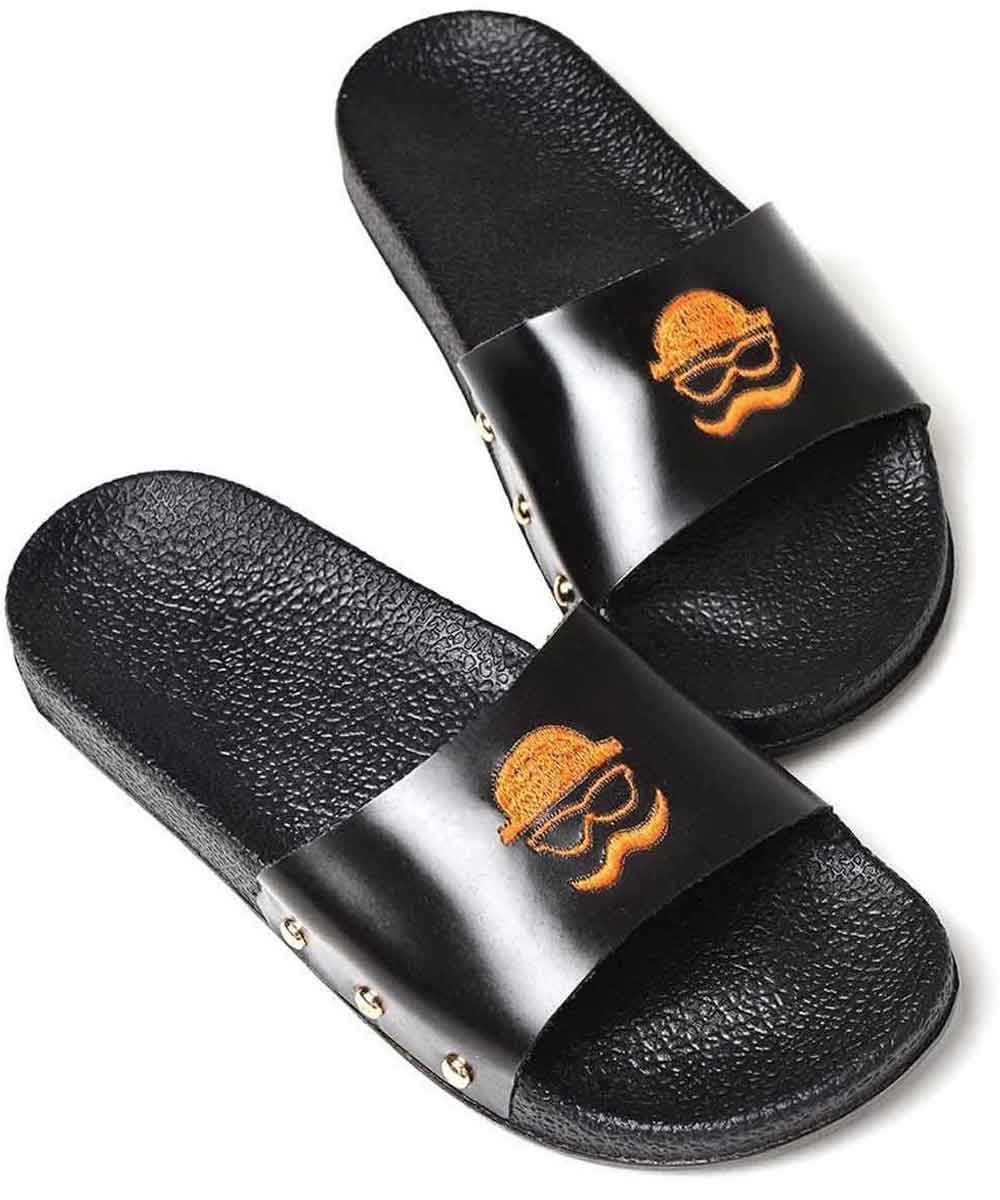 Black moustache Slip ons