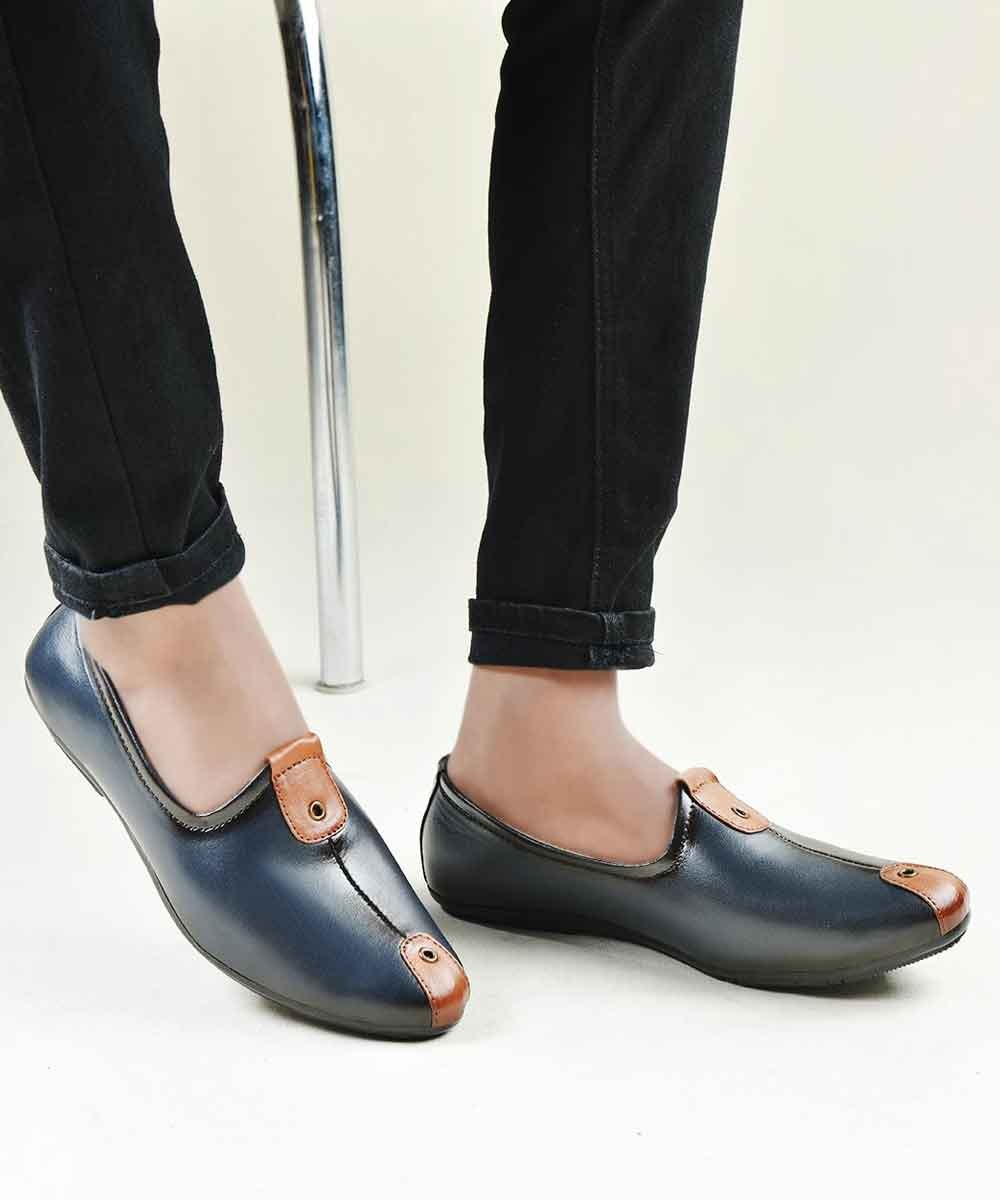 Navy Blue with brown twist shoes