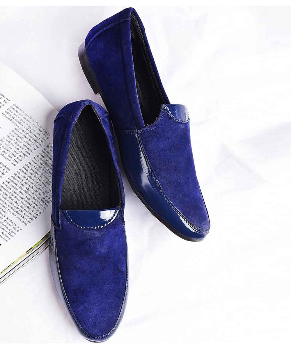 Mens - Blue suede loafers