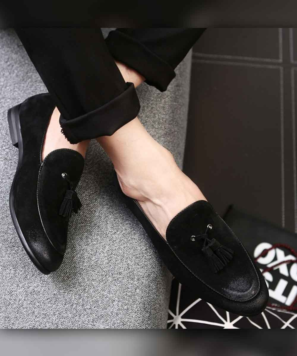 Textured toe slip on mens shoe ( black )