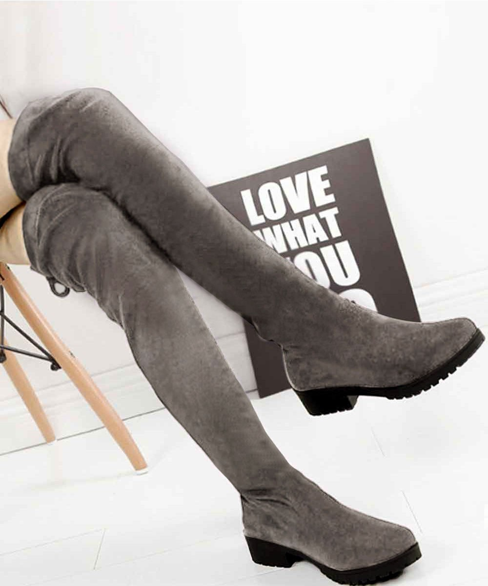 Over the Knee Winter Boots Grey