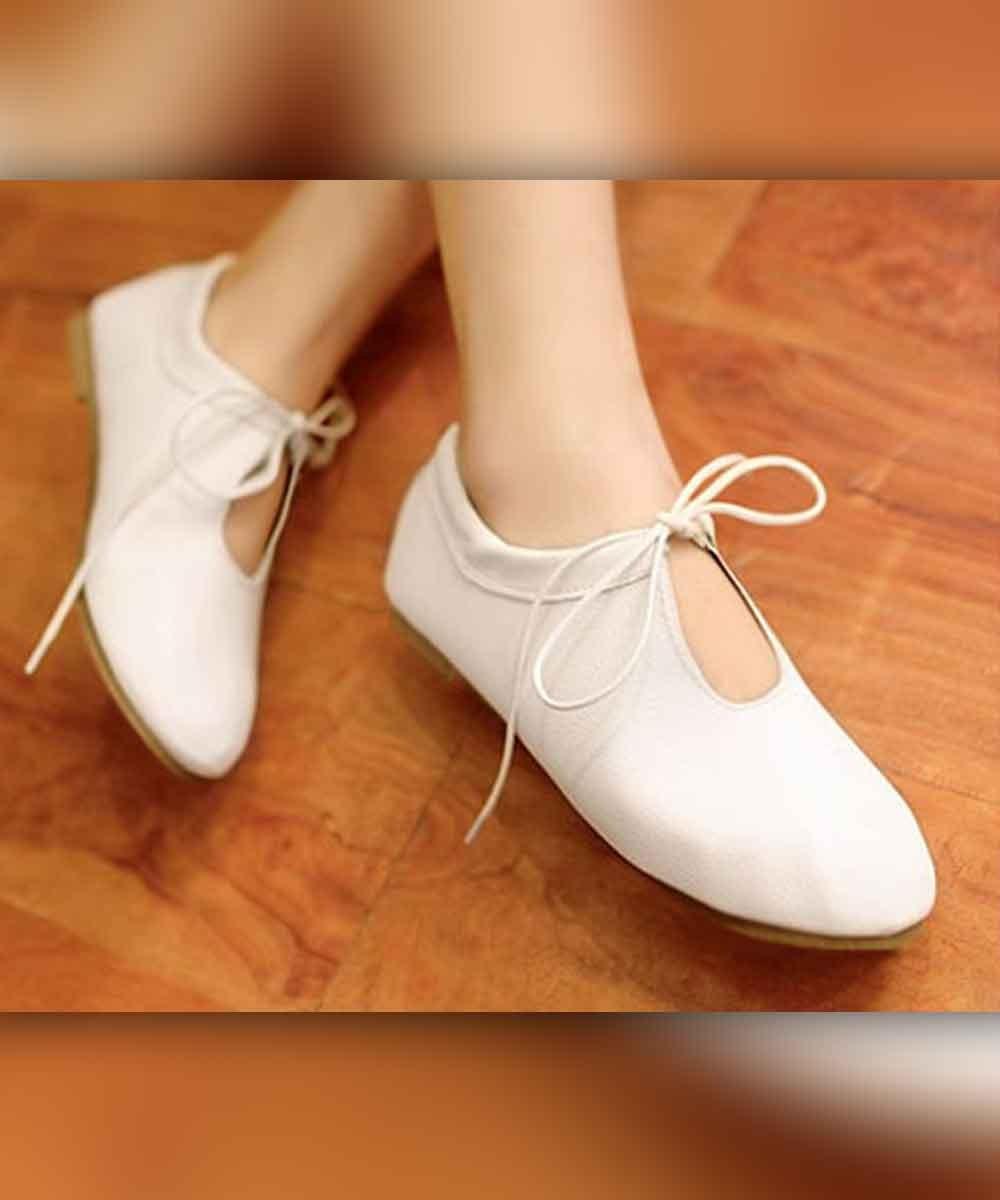 Laces Bow Flats White