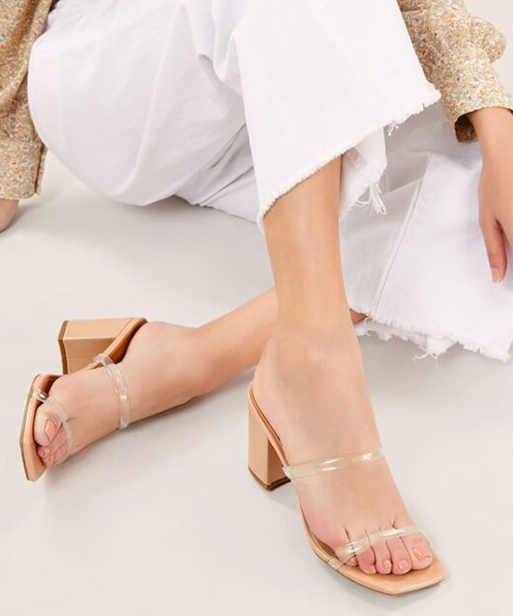 Clear Two Band Open Toe Block Heels
