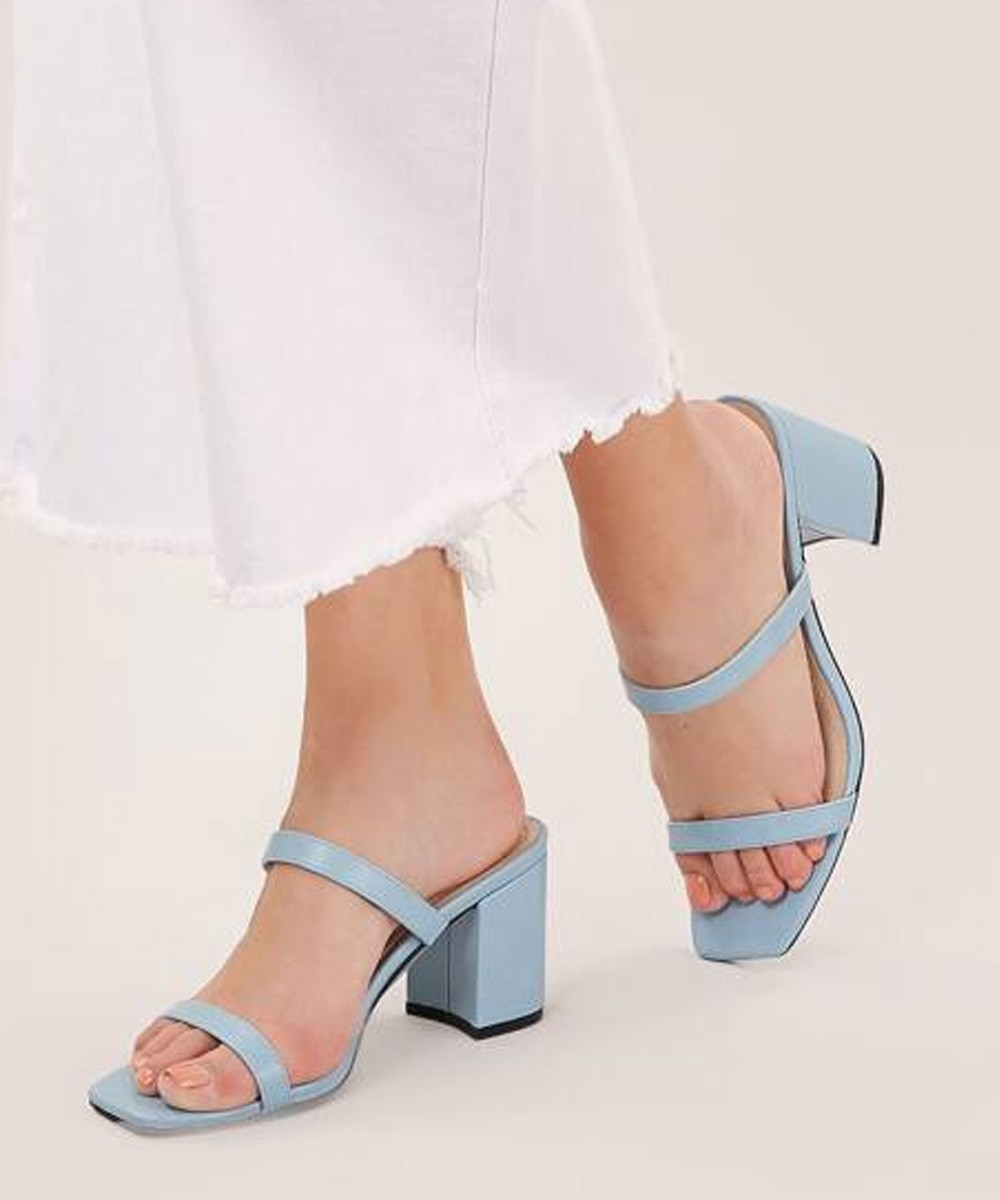 Square Toe Double Bands Block Heels Blue