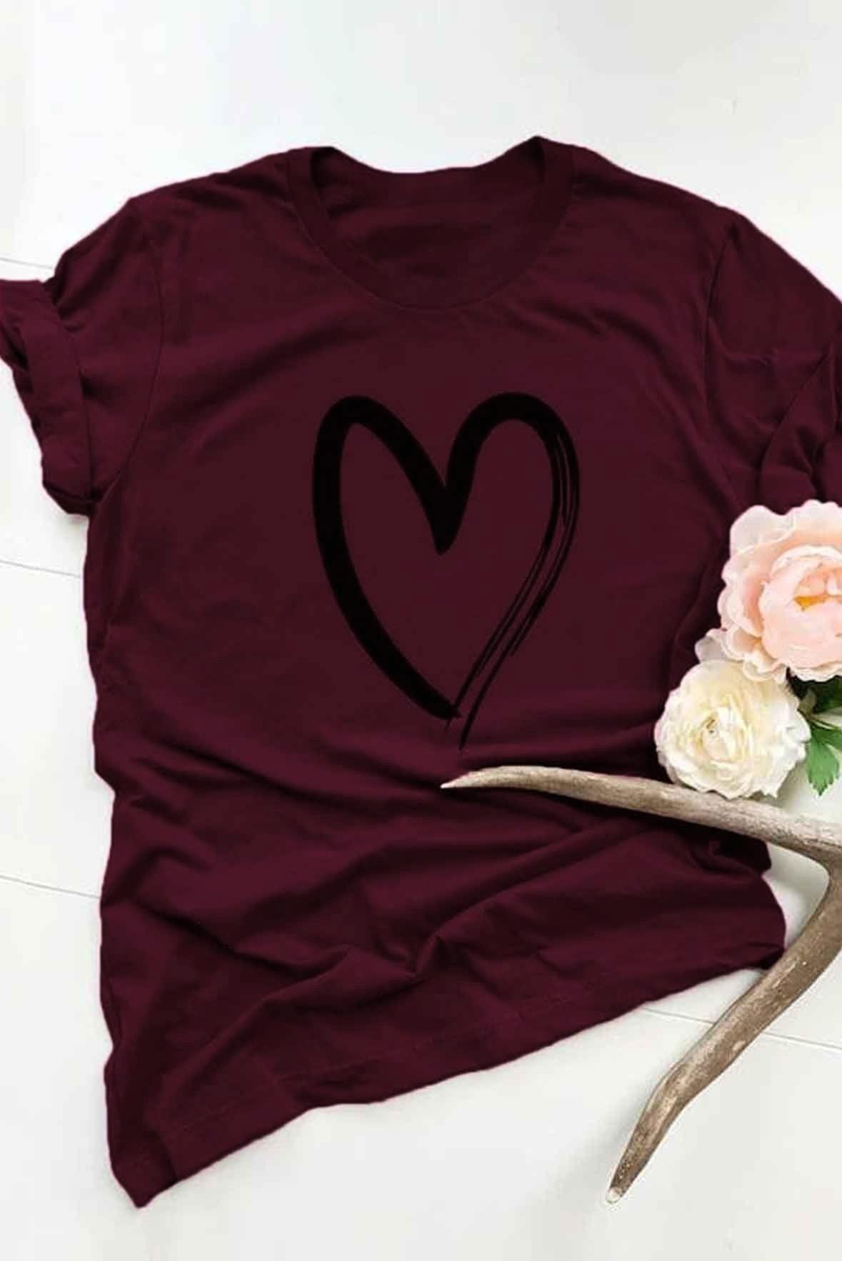 Heart Print Short Sleeve Tee Marsala