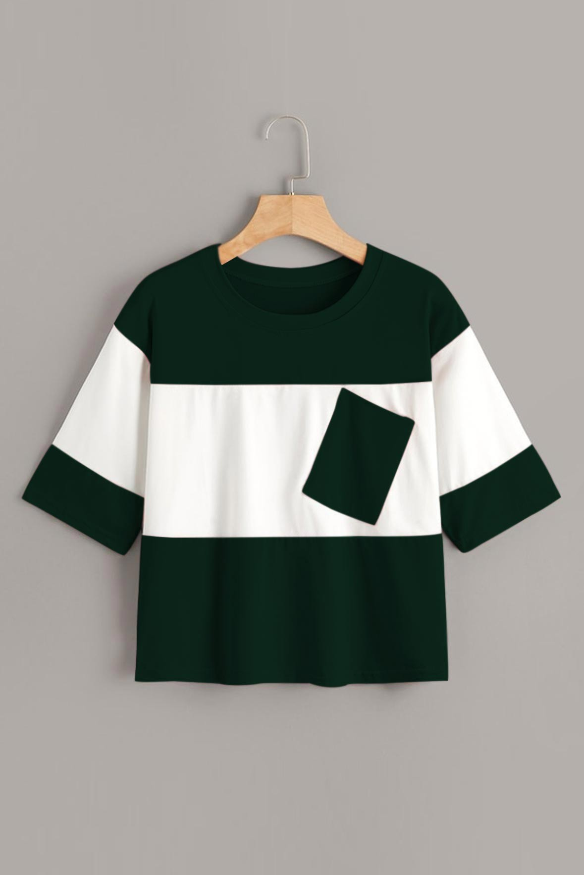 Contrast two tone t-shirt Green