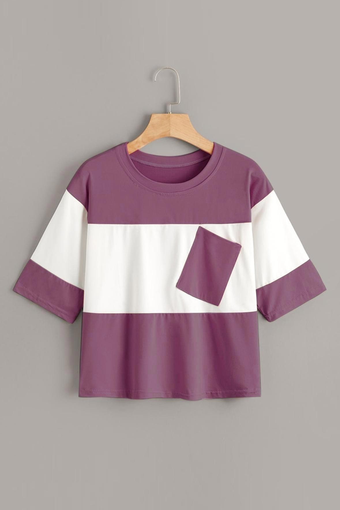 Contrast two tone t-shirt Rouge