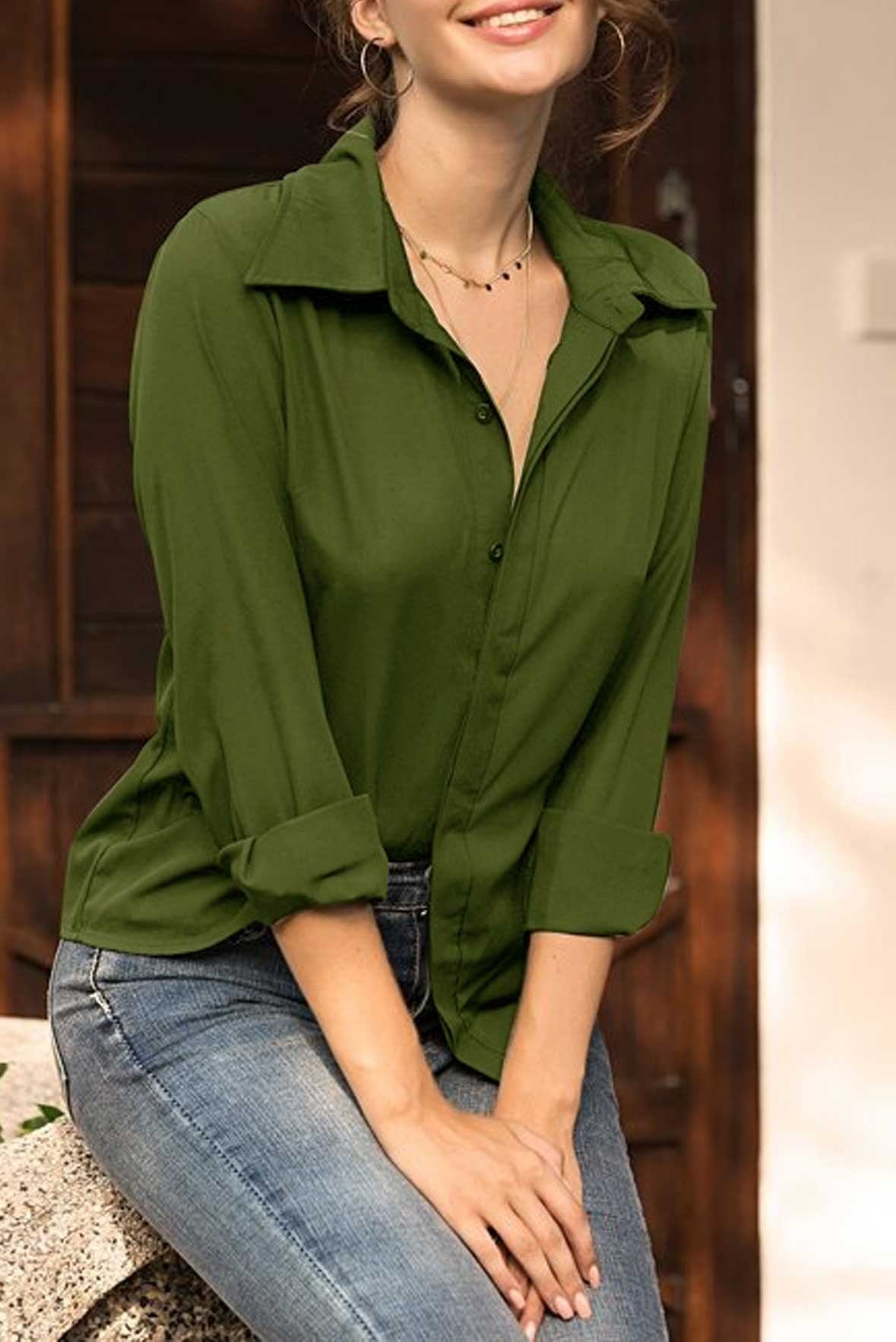 Solid Button Up Shirt Army green