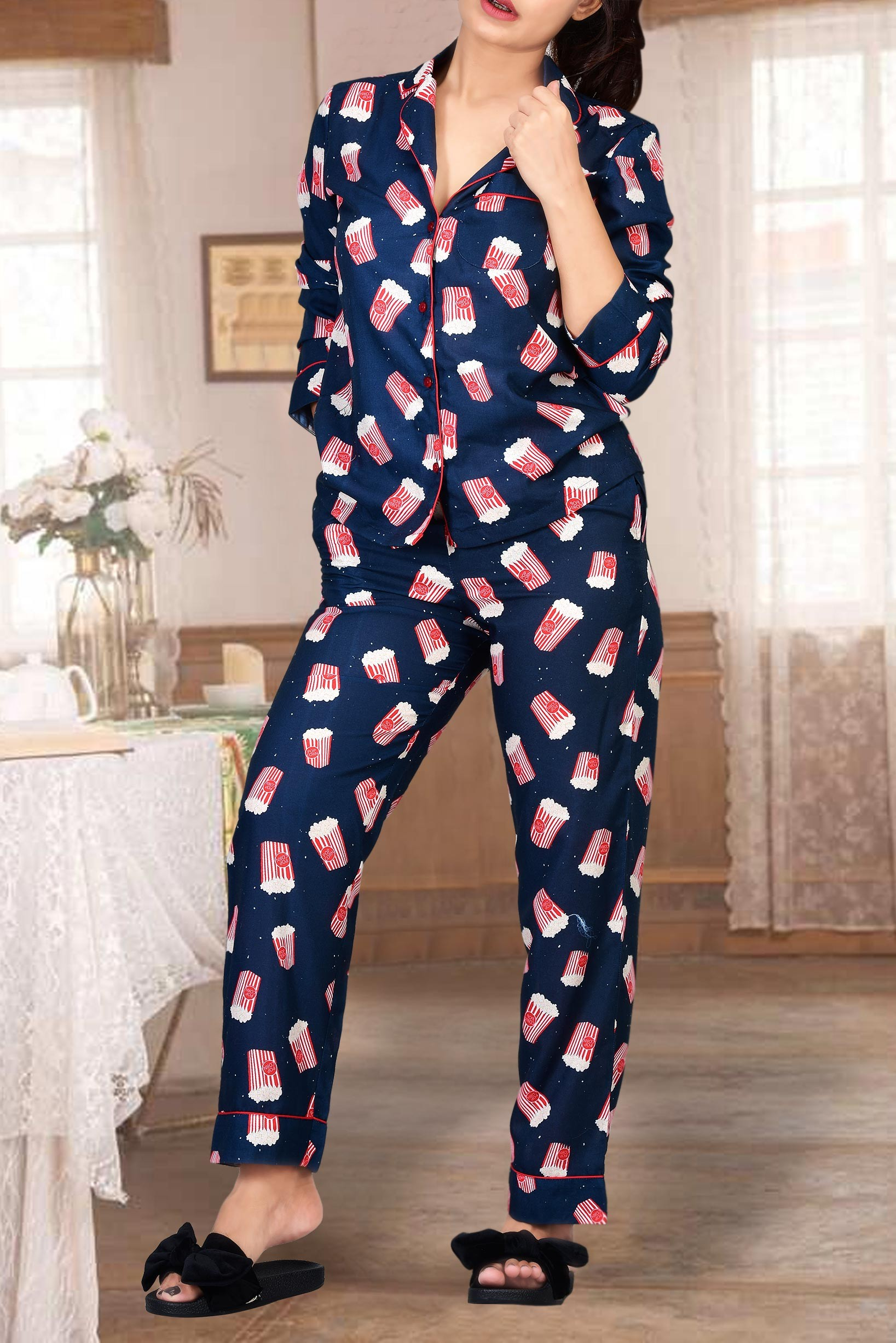 Set - Popcorn printed night suit