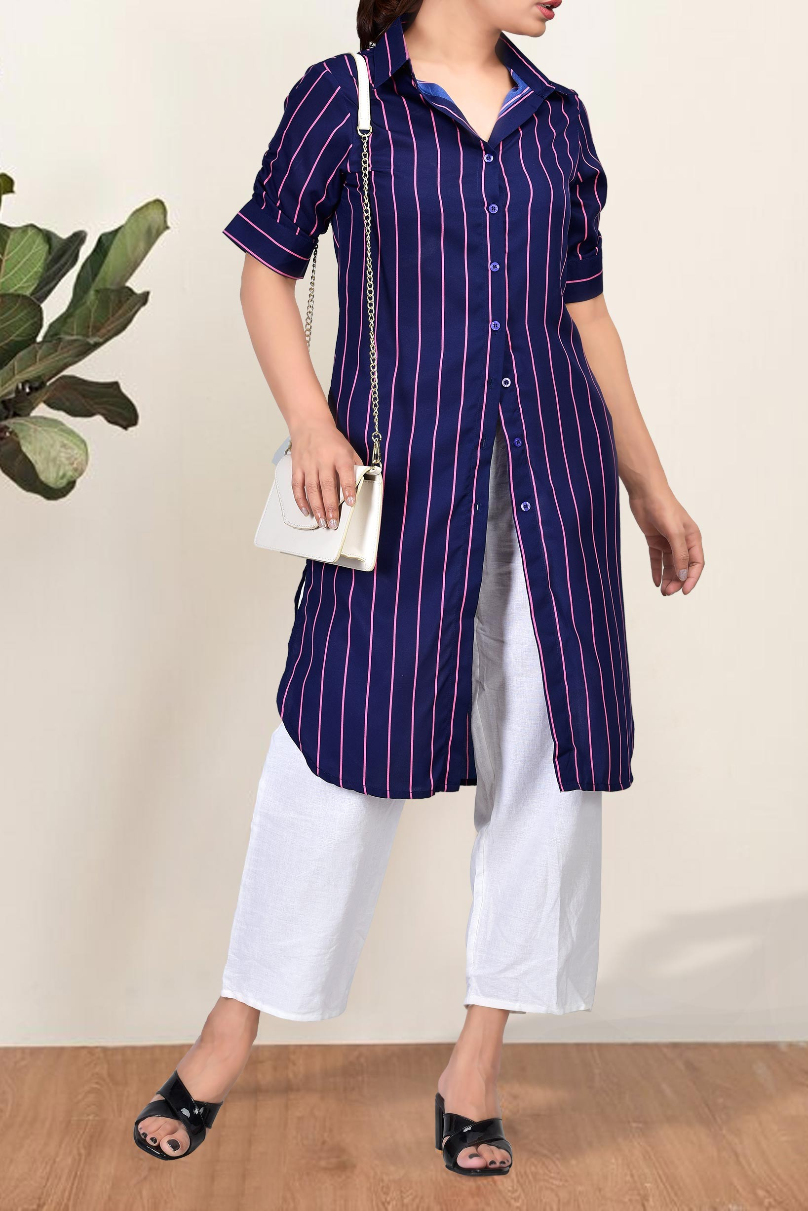 Set of two :- blue striped tunic with white trouser