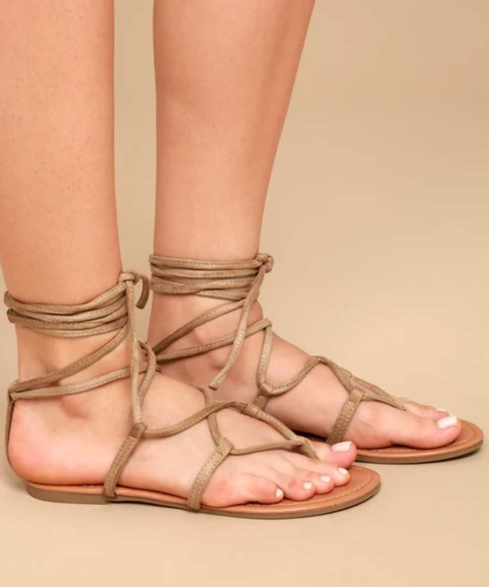 Strap up flats nude