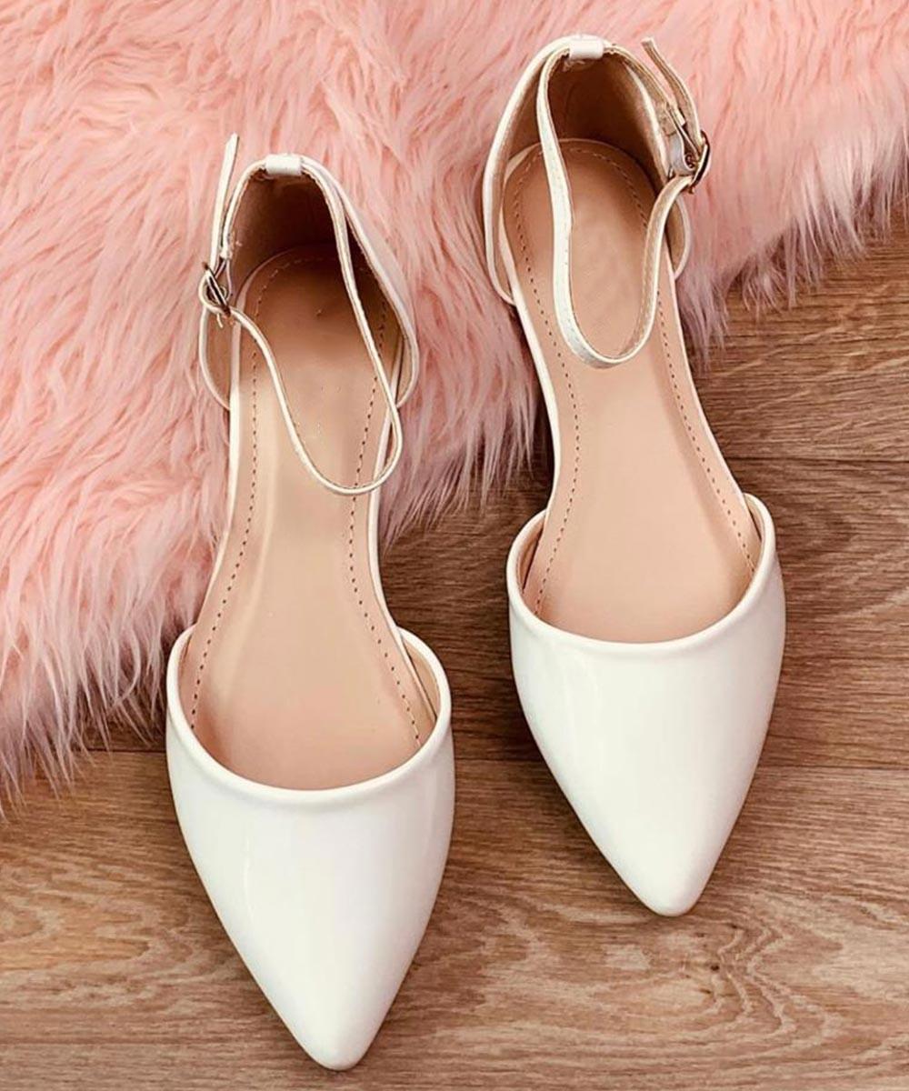 Amber white ballet flat
