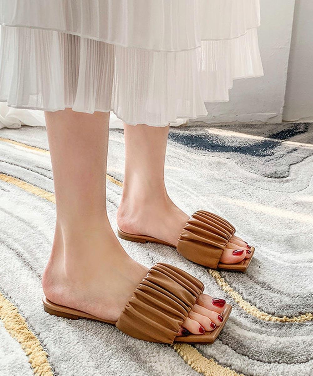 Miss mary ruffle flat tan