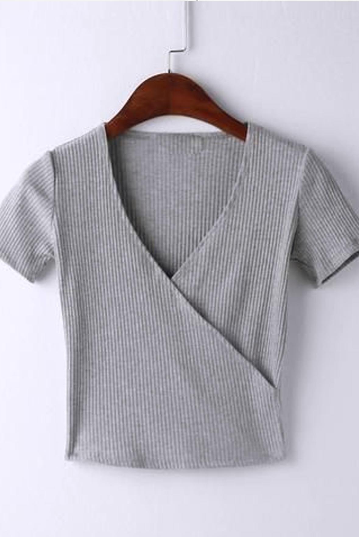 Grey Ribbed Wrap Top
