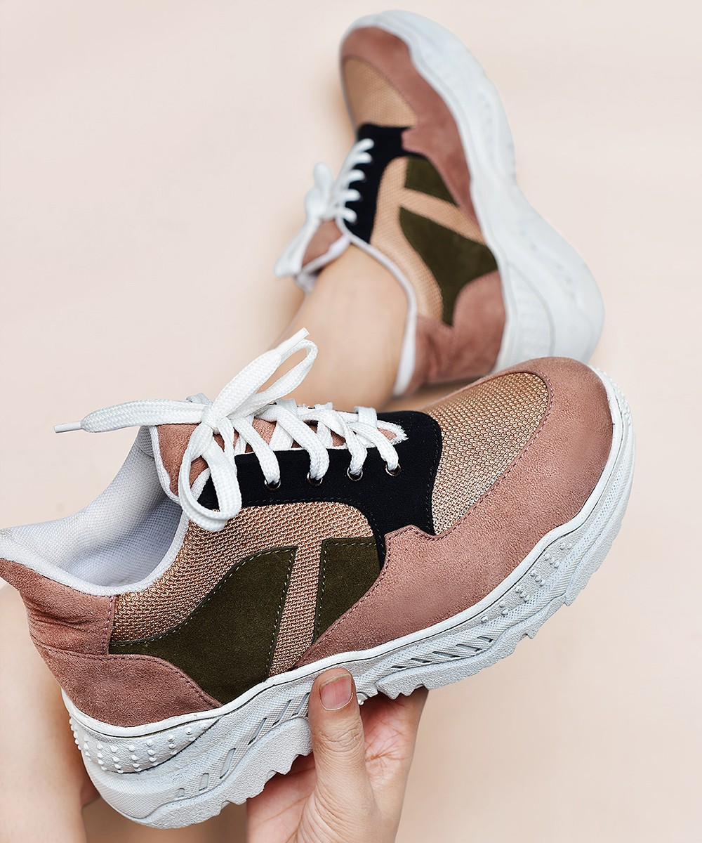 Contrast chunky sole dusty rose sneakers