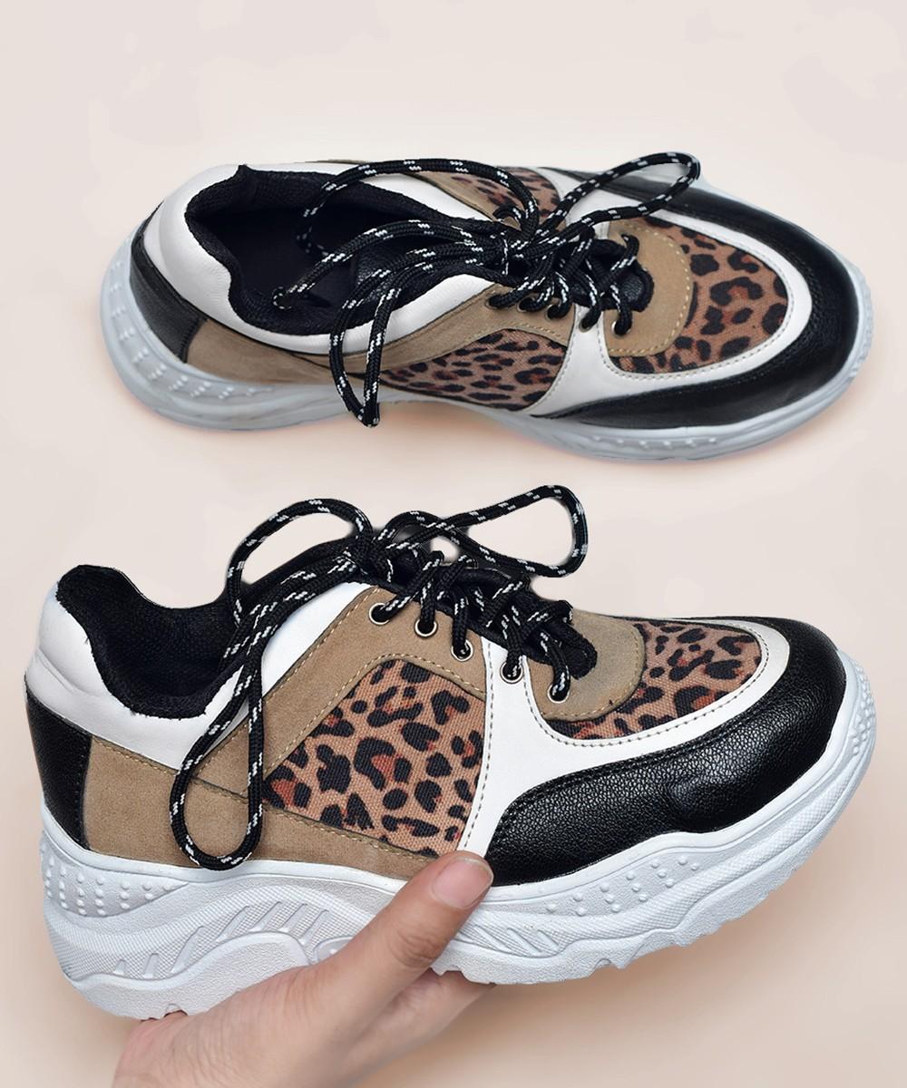 Pattern check black & white sneakers