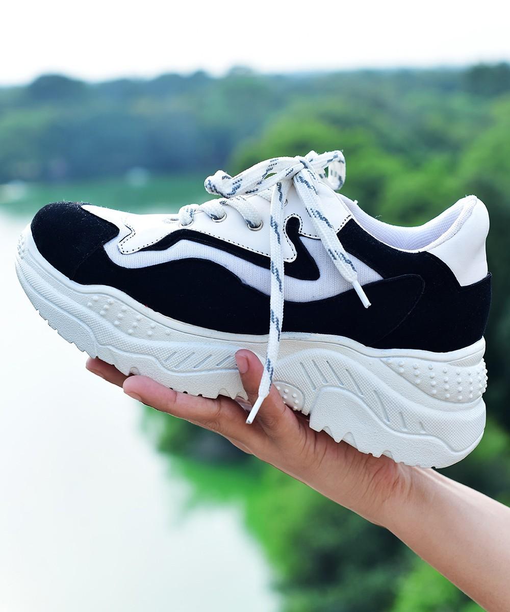 Boulevard walk chunky black & white sneakers