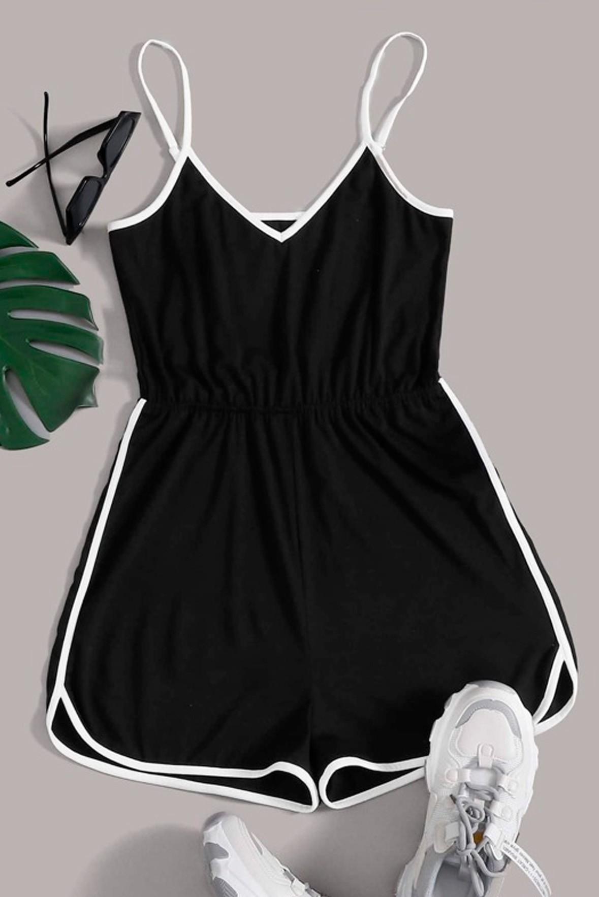 Contrast Binding Cami Romper dress