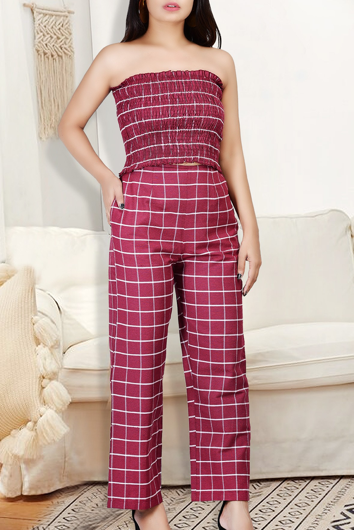 Set of two :- Tube top with Red check trouser