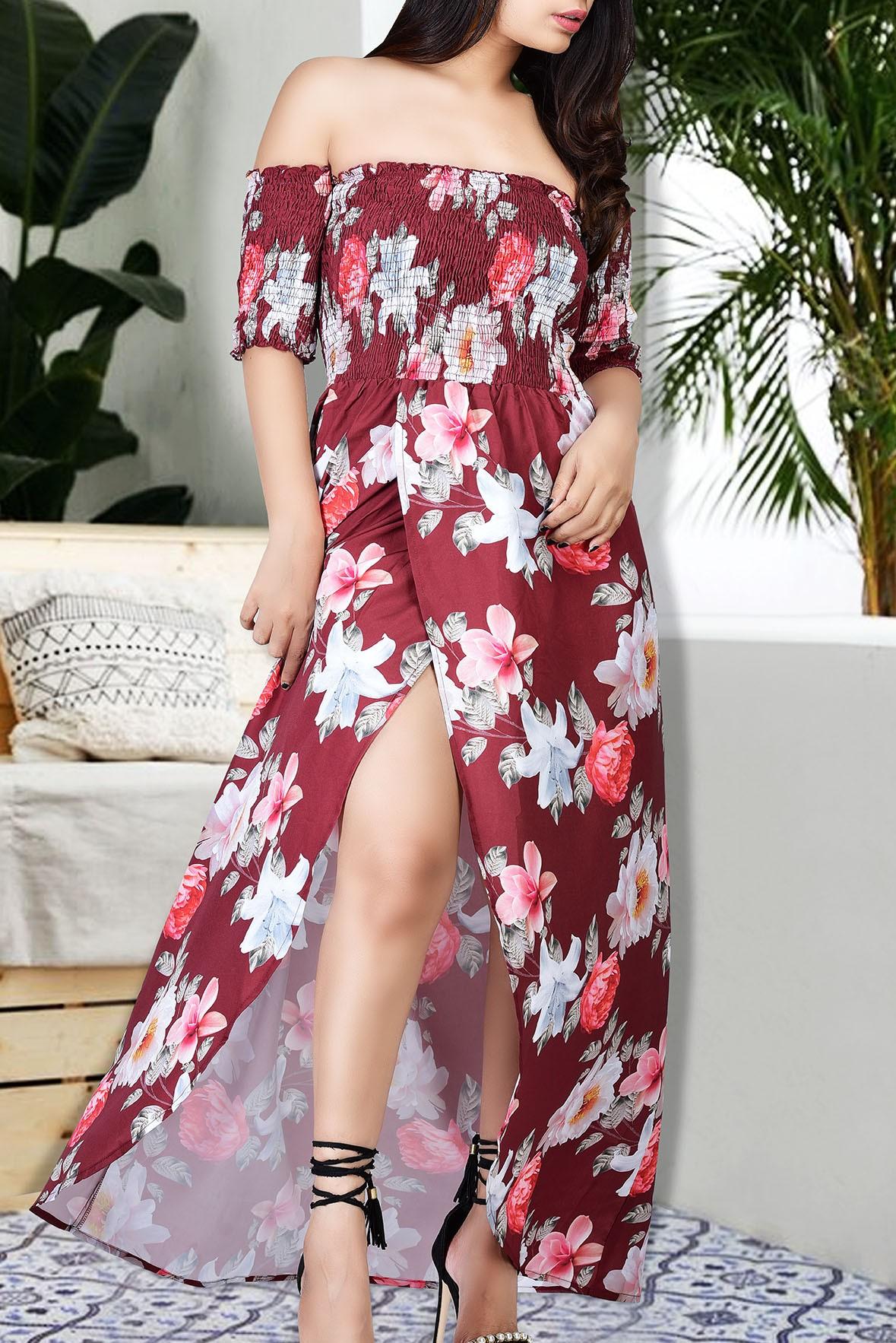 Off shoulder red flower print slit dress