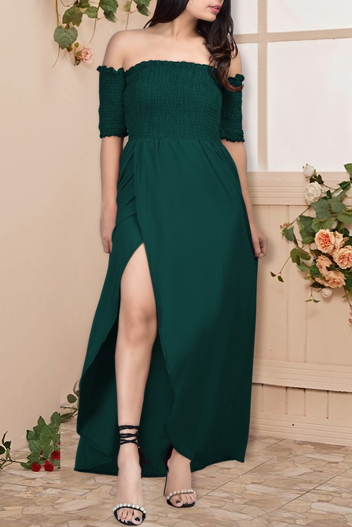 Off shoulder slit dress Green