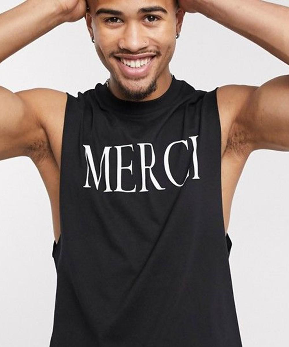 Relaxed sleeveless T shirt for Men