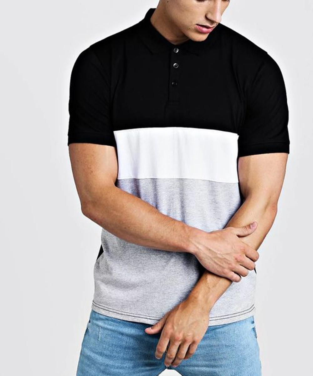 Short Sleeve Colour Block T shirt for Men