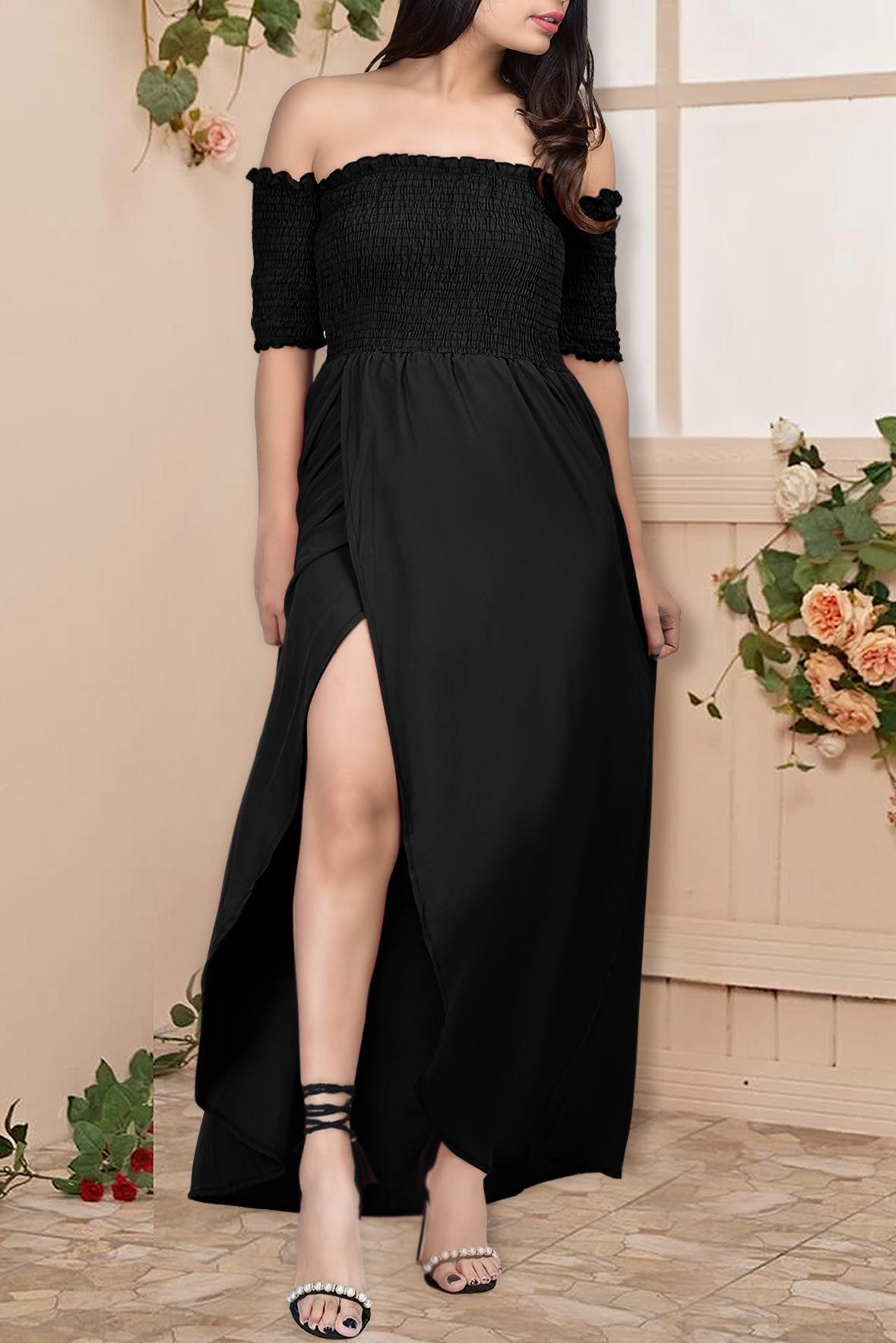Off shoulder slit dress Black