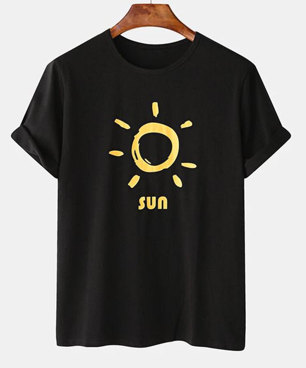 Sun Cartoon Print T Shirt for Men