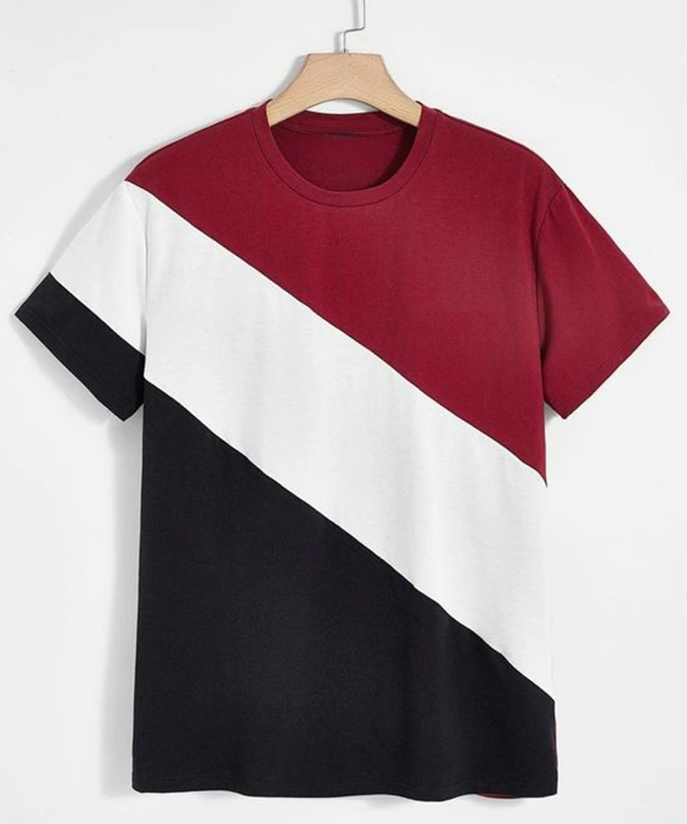 Letter Graphic Colorblock Tee for Men