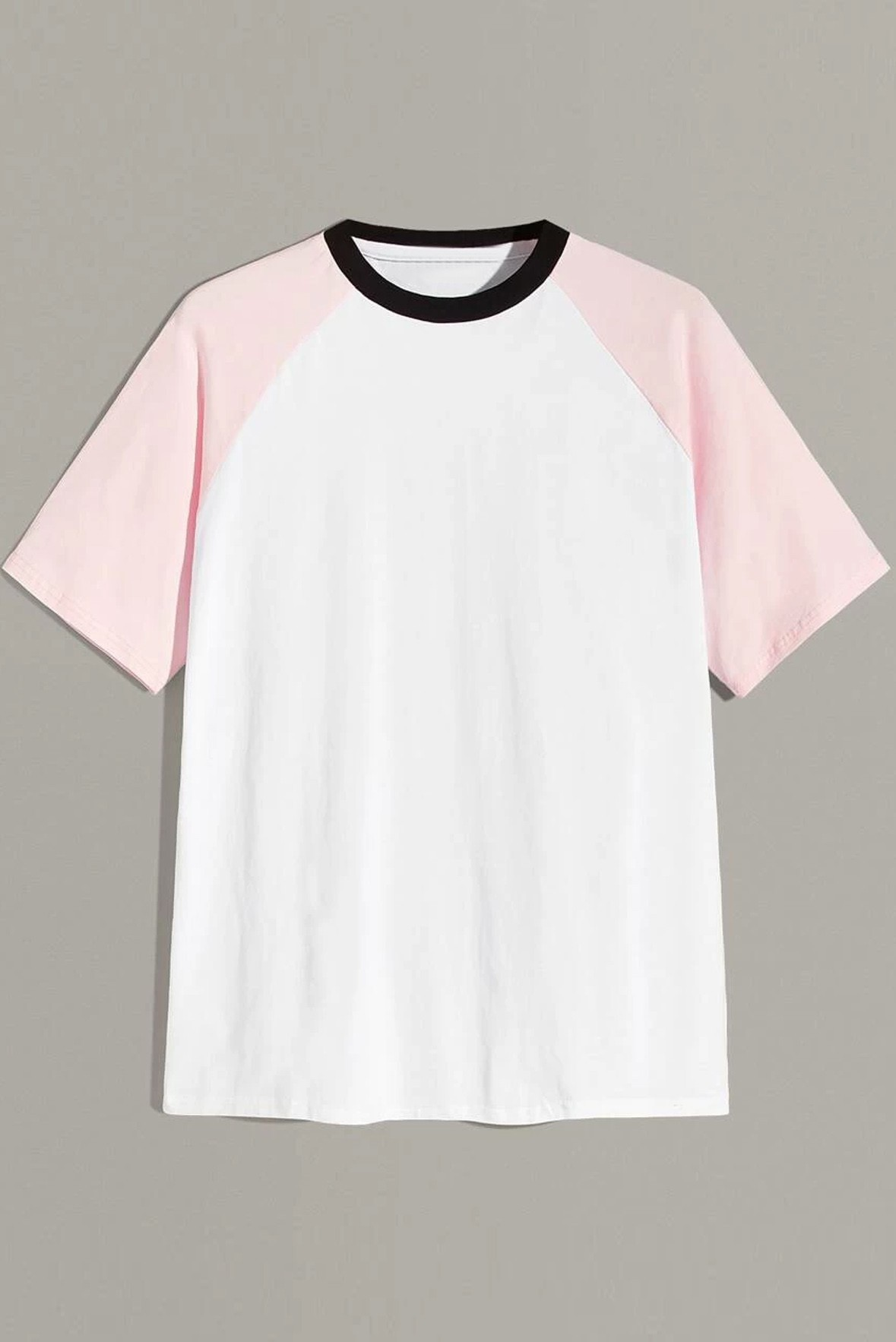 Color block Raglan Sleeve Contrast Neck T-shirt
