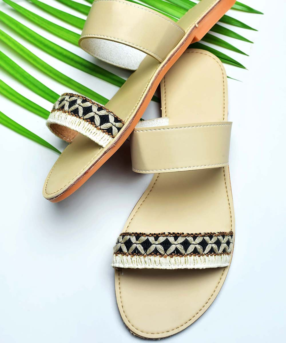Embroidered detail double lace flats