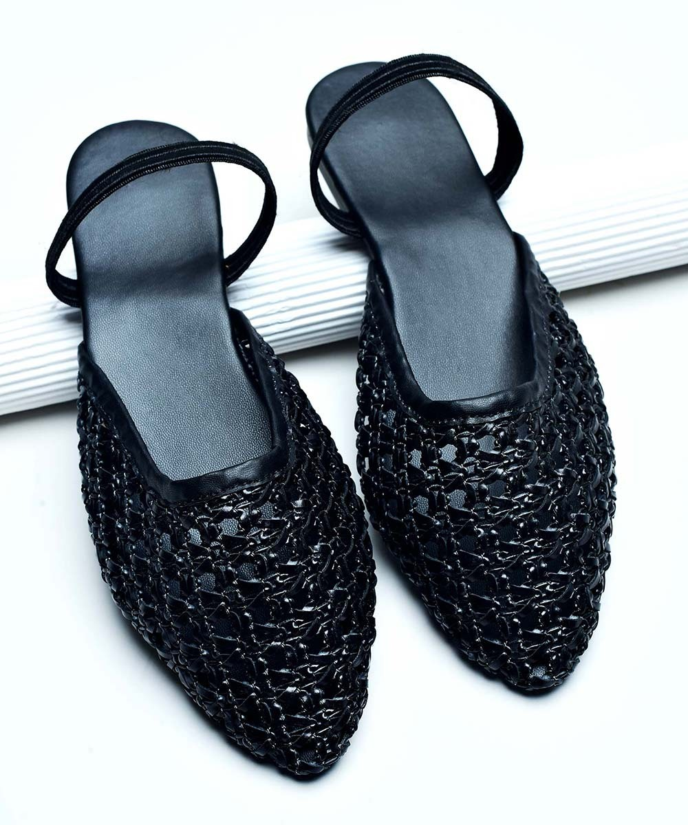 Jute work black mules