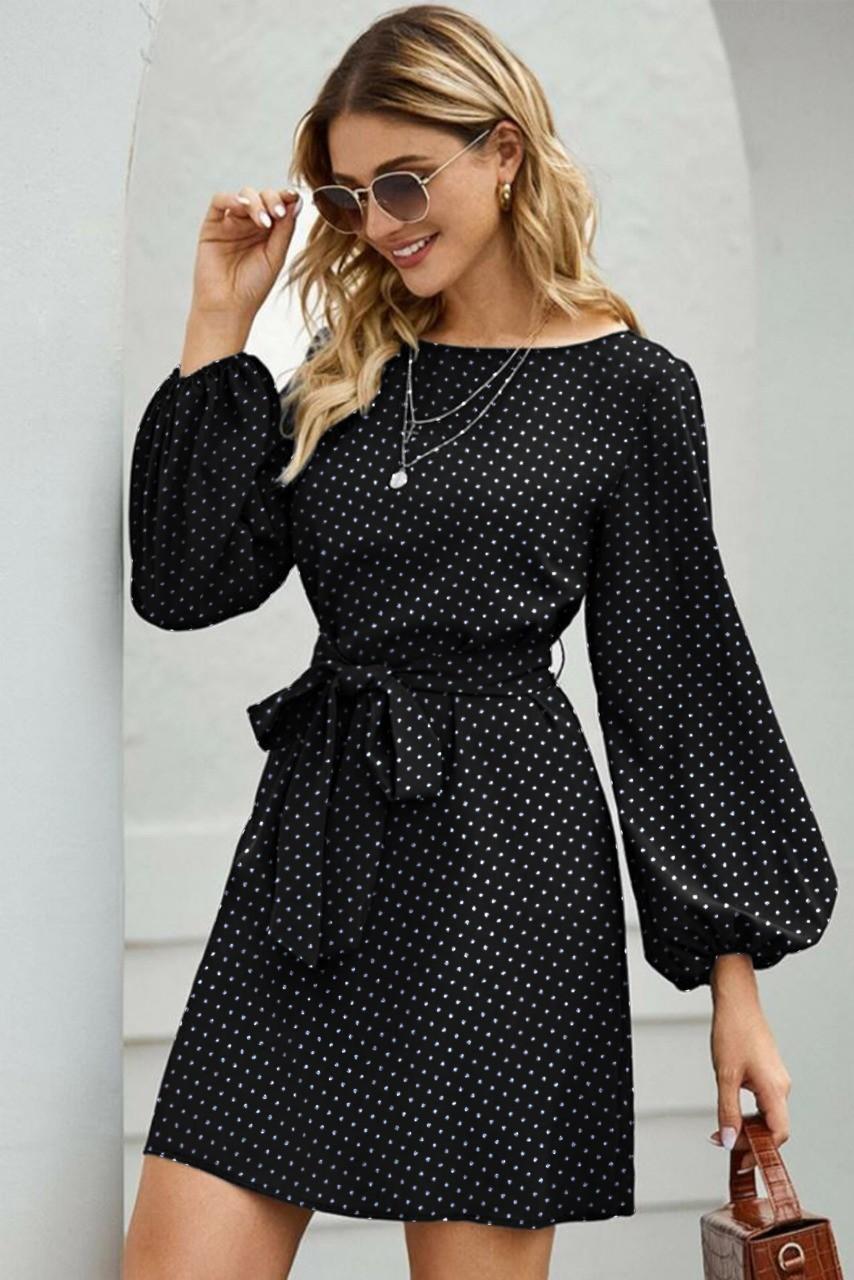 Parisian chic black polka dot dress - Street Style Store